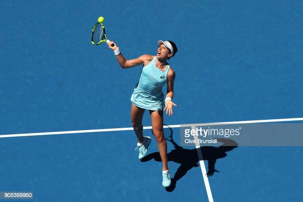 Johanna Konta of Great Britain plays a forehand smash in her first round match against Madison Brengle of the United States on day two of the 2018...