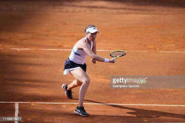 Johanna Konta of Great Britain plays against Marketa Vondrousova of Czech Republic in their Women's Single Quarterfinal Match during Day Six of the...