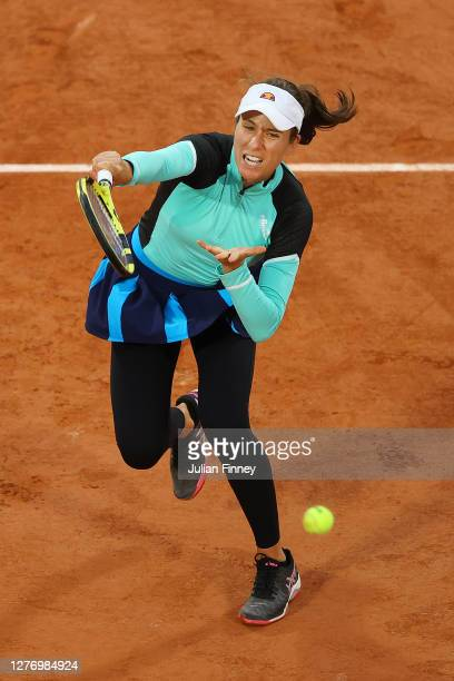 Johanna Konta of Great Britain plays an overhead shot during her Women's Singles first round match against Cori Gauff of The United States of America...