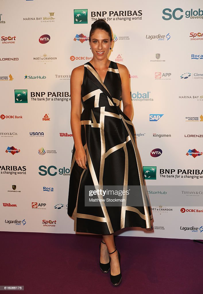 Johanna Konta of Great Britain poses during the Gala Dinner prior to the BNP Paribas WTA Finals Singapore at Marina Bay Sands on October 21, 2016 in Singapore.
