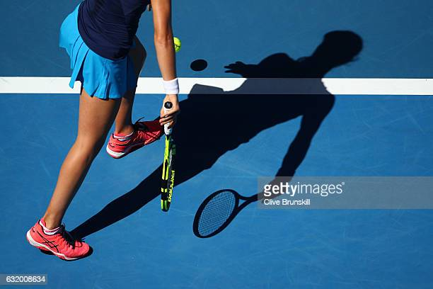 Johanna Konta of Great Britain prepares to serve in her second round match against Naomi Osaka of Japan on day four of the 2017 Australian Open at...