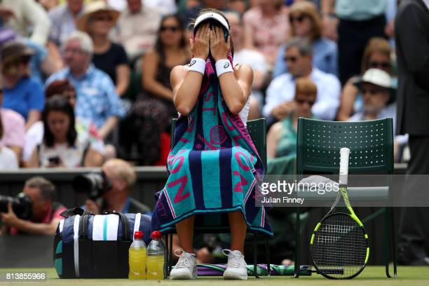Johanna Konta of Great Britain reacts as she takes a break during the Ladies Singles semi final match against Venus Williams of The United States on...