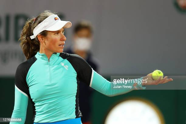 Johanna Konta of Great Britain reacts during her Women's Singles first round match against Cori Gauff of The United States of America during day one...