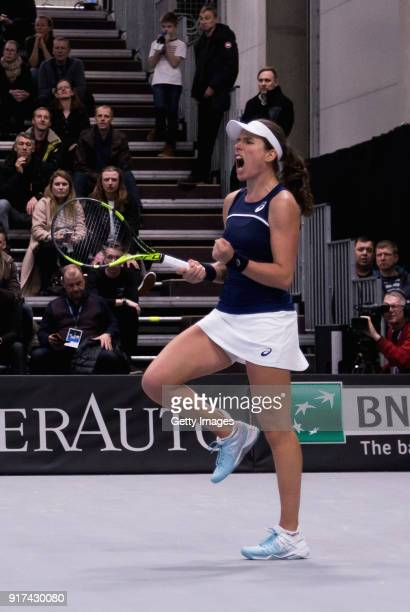 Johanna Konta of Great Britain reacts during the Europe/Africa Group B match of the Fed Cup by BNP Paribas between Johanna Konta of Great Britain and...