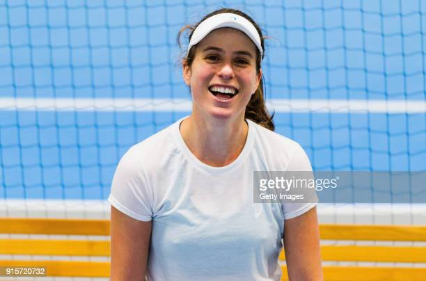 Johanna Konta of Great Britain reacts during the Great Britain Training session ahead of the Davis Cup by BNP Paribas Europe/Africa Group B on...