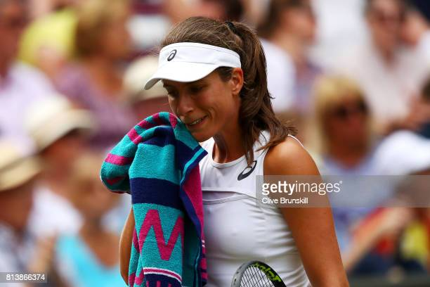 Johanna Konta of Great Britain reacts during the Ladies Singles semi final match against Venus Williams of The United States on day ten of the...