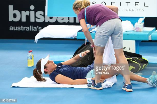 Johanna Konta of Great Britain receives treatment in her match against Elina Svitolina of Ukraine during day five of the 2018 Brisbane International...