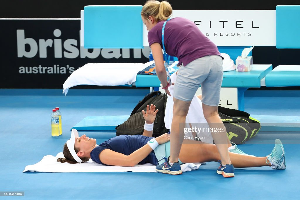 Johanna Konta of Great Britain receives treatment in her match against Elina Svitolina of Ukraine during day five of the 2018 Brisbane International at Pat Rafter Arena on January 4, 2018 in Brisbane, Australia.