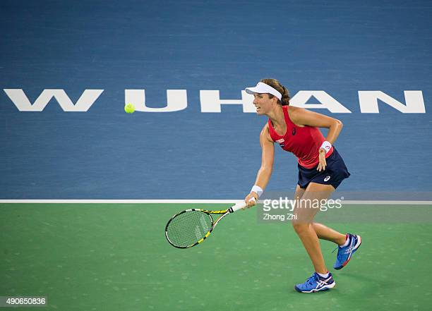 Johanna Konta of Great Britain returns a shot during the match against Simona Halep of Romania on Day 4 of 2015 Dongfeng Motor Wuhan Open at Optics...
