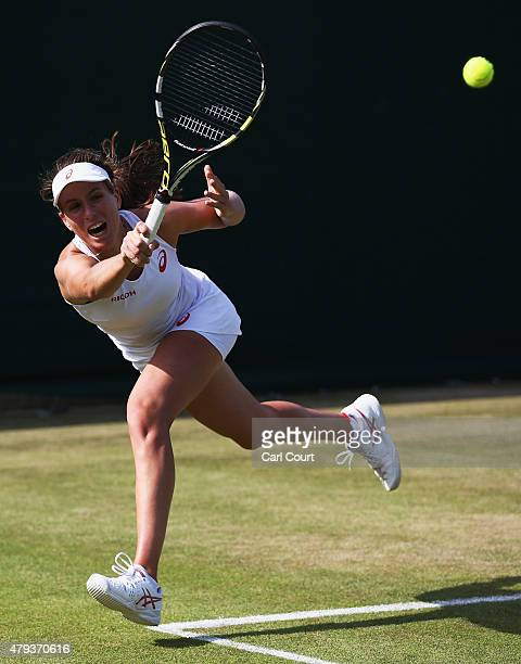 Johanna Konta of Great Britain returns a shot in her Mixed Doubles First Round match with Ken Skupski of Great Britain against Aisam Qureshi of...