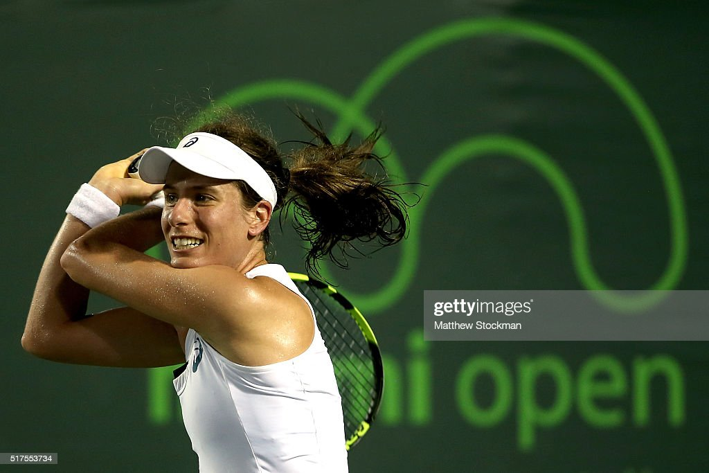 Johanna Konta of Great Britain returns a shot to Danka Kovinic of Montenegro during the Miami Open presented by Itau at Crandon Park Tennis Center on March 25, 2016 in Key Biscayne, Florida.