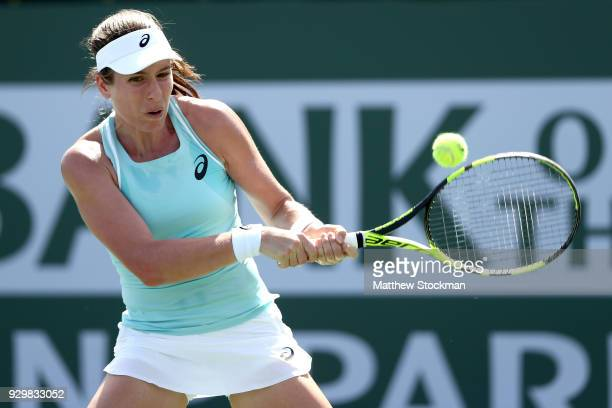 Johanna Konta of Great Britain returns a shot to Marketa Vondrousova of Czech Republic during the BNP Paribas Open at the Indian Wells Tennis Garden...