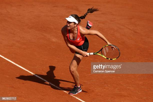 Johanna Konta of Great Britain serves during a practice session ahead of the French Open at Roland Garros on May 26, 2018 in Paris, France.