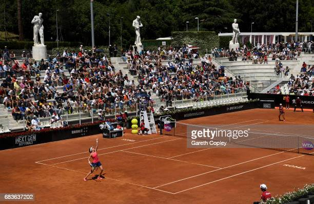 Johanna Konta of Great Britain serves during her first round match against Yulia Putinseva of Kazakhstan in The Internazionali BNL d'Italia 2017 at...