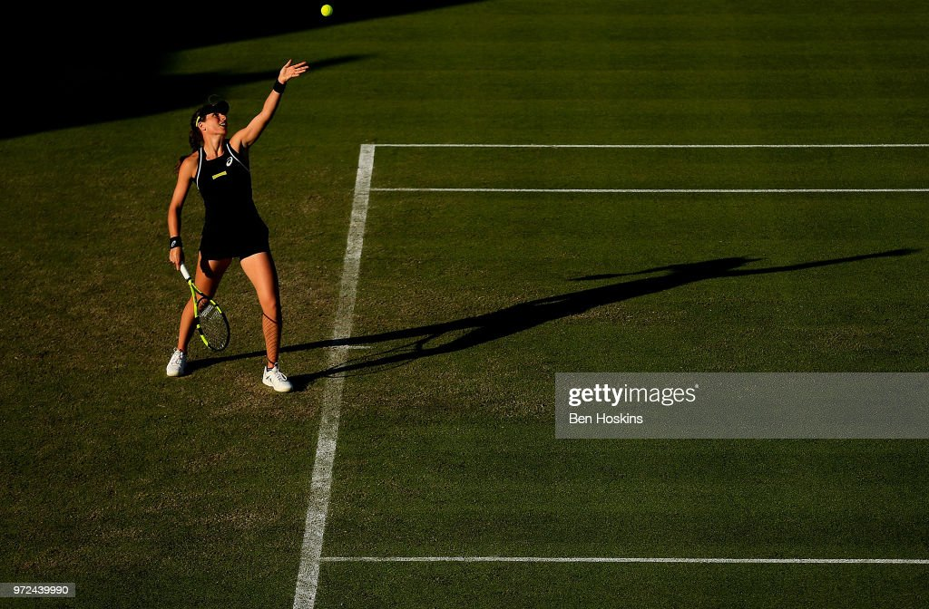 Johanna Konta of Great Britain serves during her first round match against Kurumi Nara of Japan on Day Four of the Nature Valley Open at Nottingham Tennis Centre on June 12, 2018 in Nottingham, United Kingdom.