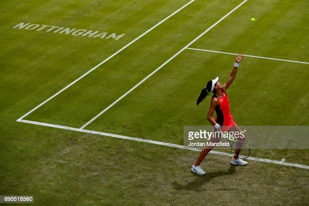 Johanna Konta of Great Britain serves during her Women's first round singles match against Tara Moore of Great Britain on day two of the Aegon Open...