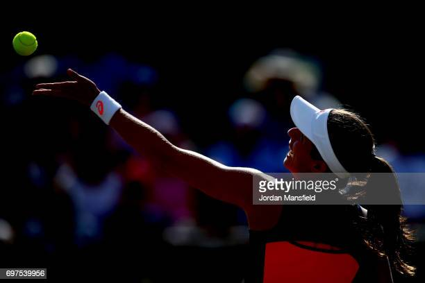 Johanna Konta of Great Britain serves during her Women's Singles Final match against Donna Vekic of Croatia during day 7 of the Aegon Open Nottingham...