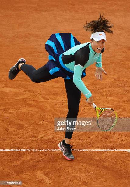 Johanna Konta of Great Britain serves during her Women's Singles first round match against Cori Gauff of The United States of America during day one...