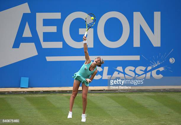 Johanna Konta of Great Britain serves during her women's singles first round match against Misaki Doi of Japan on day four of the WTA Aegon Classic...