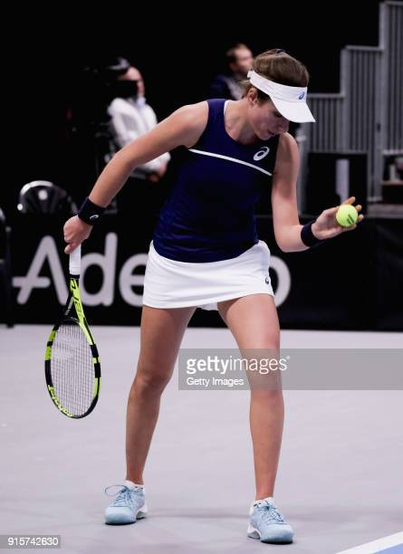 Johanna Konta of Great Britain serves during the Davis Cup by BNP Paribas Europe/Africa Group B match against Maria Joao Koehler of Portugal on...