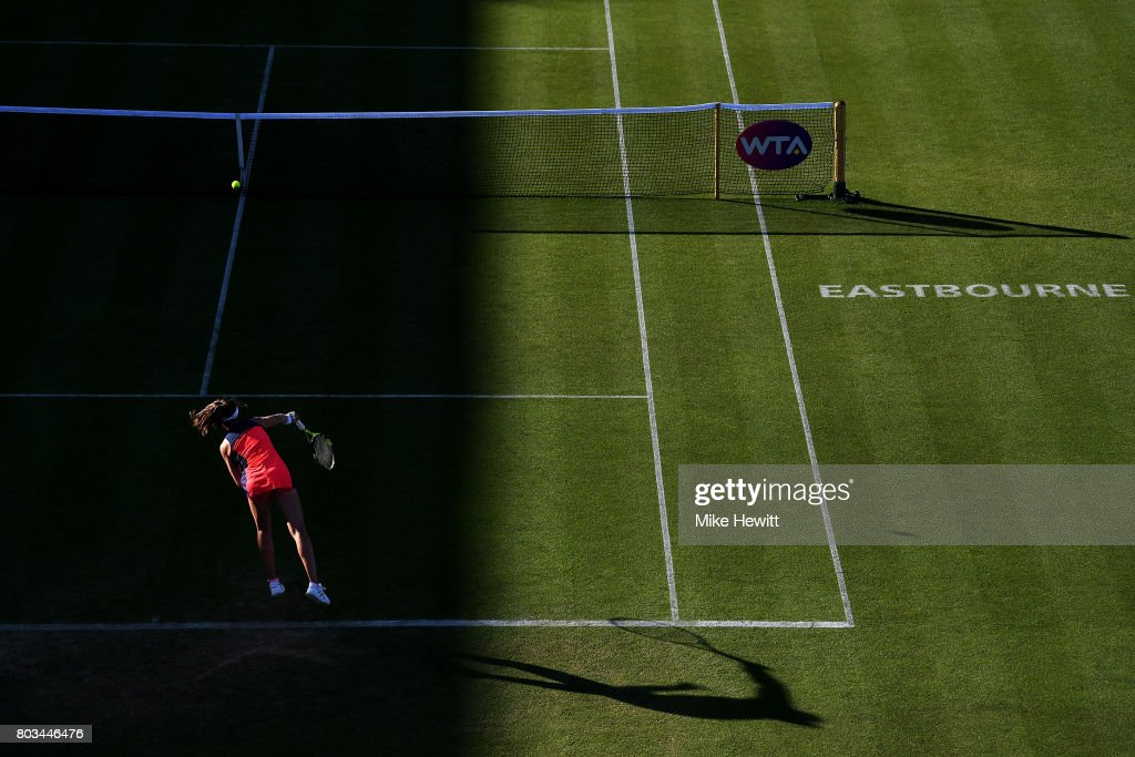 Johanna Konta of Great Britain serves during the ladies singles quarter final match against Angelique Kerber of Germany on day five of the Aegon International Eastbourne at Devonshire Park Lawn Tennis Club on June 29, 2017 in Eastbourne, England.