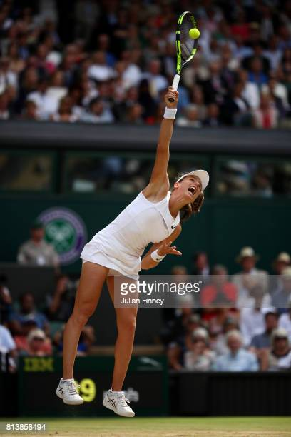 Johanna Konta of Great Britain serves during the Ladies Singles semi final match against Venus Williams of The United States on day ten of the...