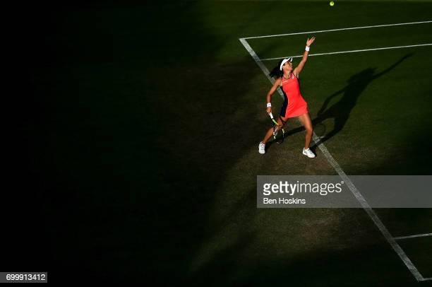 Johanna Konta of Great Britain serves during the second round match against Coco Vandeweghe of The USA on day four of The Aegon Classic Birmingham at...