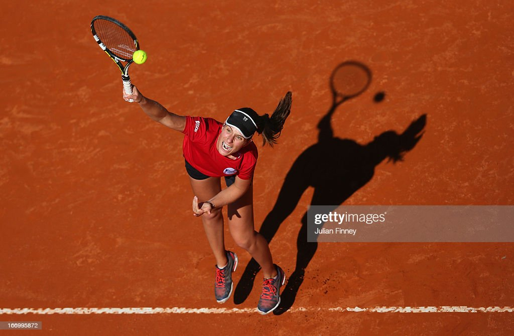 Johanna Konta of Great Britain serves in a practice session during previews ahead of the Fed Cup World Group Two Play-Offs between Argentina and Great Britain at Parque Roca on April 19, 2013 in Buenos Aires, Argentina.