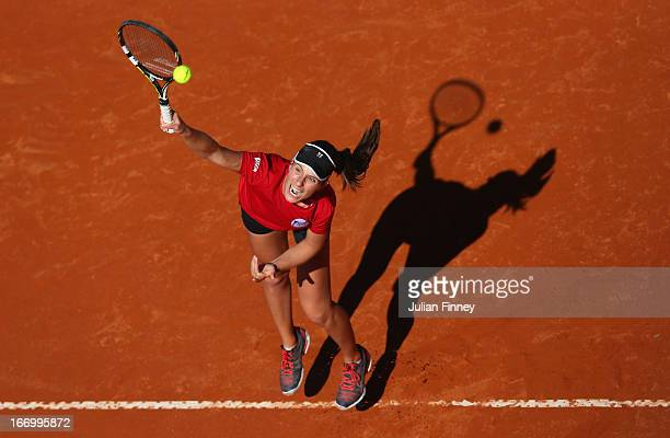 Johanna Konta of Great Britain serves in a practice session during previews ahead of the Fed Cup World Group Two PlayOffs between Argentina and Great...
