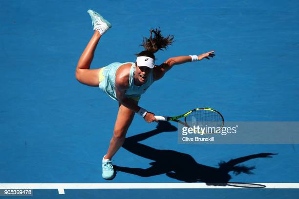 Johanna Konta of Great Britain serves in her first round match against Madison Brengle of the United States on day two of the 2018 Australian Open at...