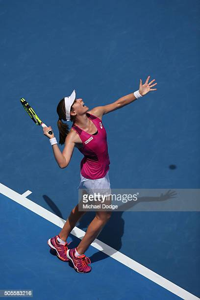 Johanna Konta of Great Britain serves in her first round match against Venus Williams of the United States during day two of the 2016 Australian Open...