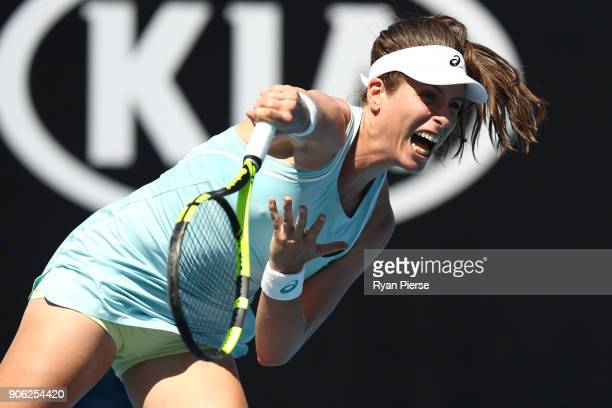 Johanna Konta of Great Britain serves in her second round match against Bernarda Pera of the United States on day four of the 2018 Australian Open at...