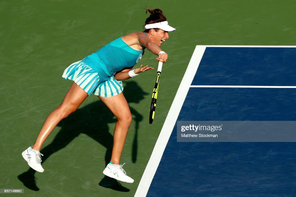 Johanna Konta of Great Britain serves to Kiki Bertens of Neherlands during day 4 of the Western & Southern Open at the Lindner Family Tennis Center on August 14, 2017 in Mason, Ohio.