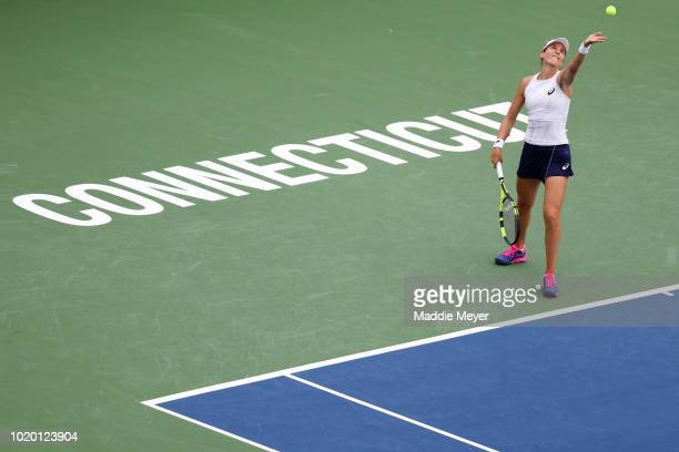 Danielle Collins of the United States looks on during her match against Dayana Yastremska of Ukraine during Day 1 of the Connecticut Open at...