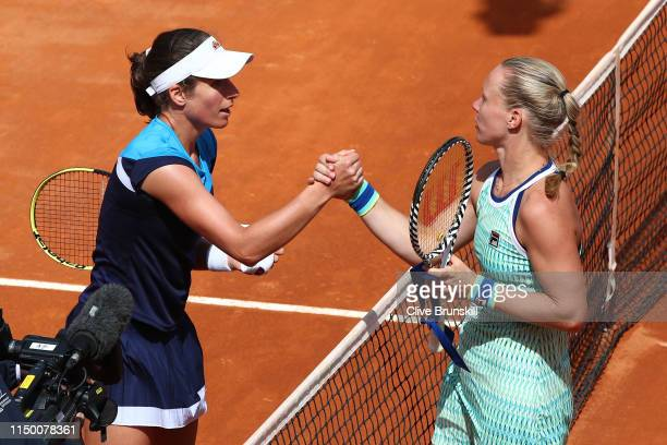 Johanna Konta of Great Britain shakes hands at the net after her three set victory against Kiki Bertens of the Netherlands in their semifinal match...