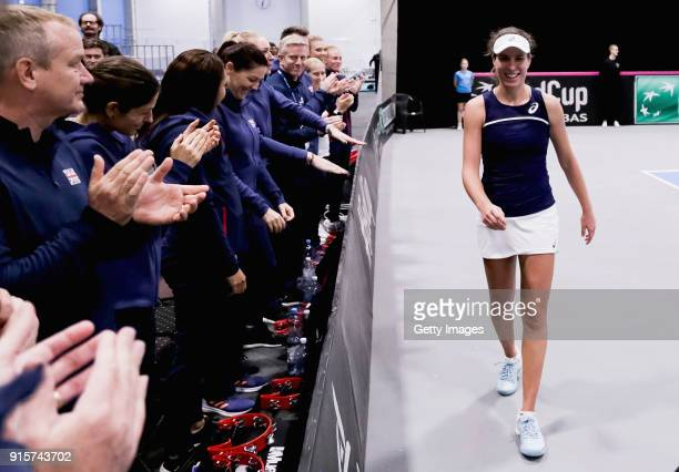 Johanna Konta of Great Britain shakes hands with Great Britain team prior to the Davis Cup by BNP Paribas Europe/Africa Group B match against Maria...