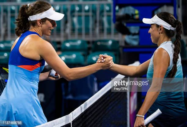 Johanna Konta of Great Britain shakes hands with Jessica Pegula of the United States after beating her in the second round of the women's singles at...