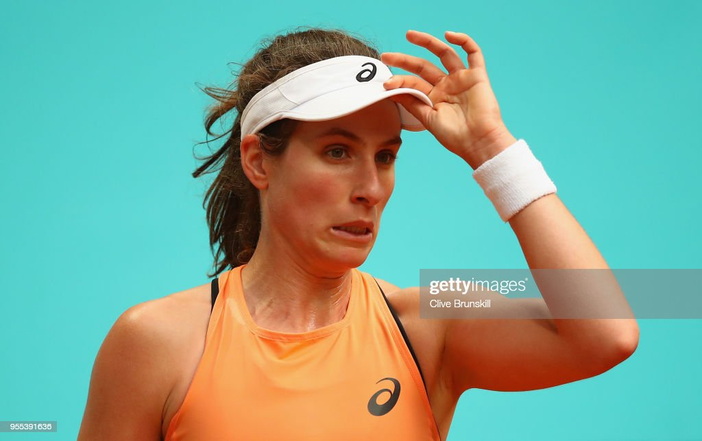 Johanna Konta of Great Britain shows her emotions against Magdalena Rybarikova of Slovakia in their first round match during day two of the Mutua Madrid Open tennis tournament at the Caja Magica on May 6, 2018 in Madrid, Spain.