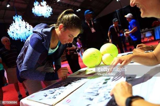 Johanna Konta of Great Britain signs her autograph during Day 3 of the Rogers Cup at Aviva Centre on August 7 2017 in Toronto Canada