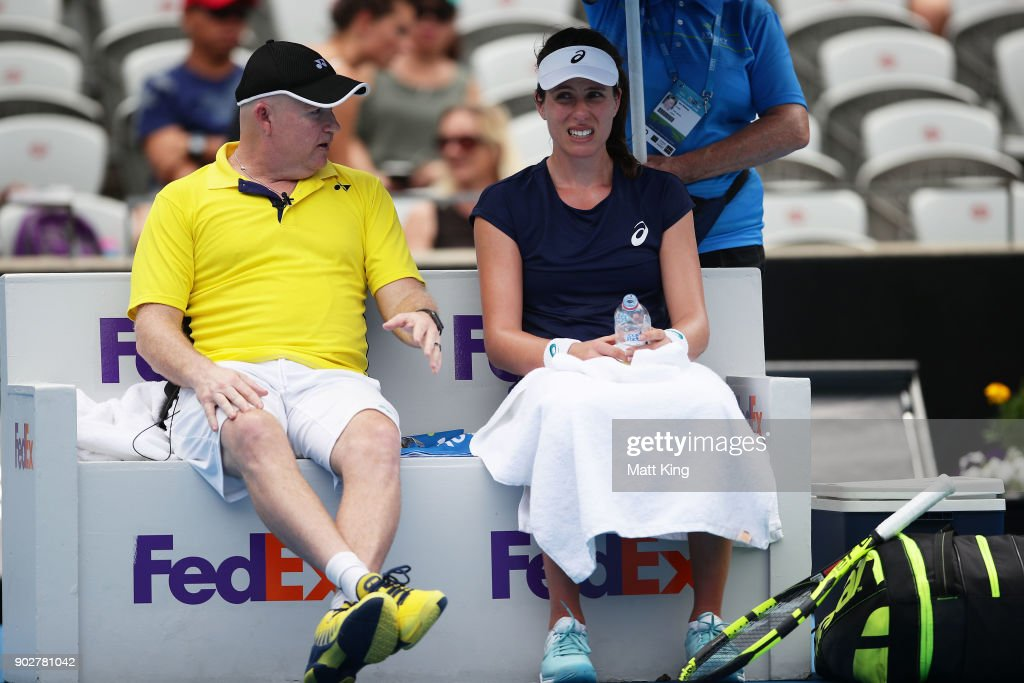 Johanna Konta of Great Britain speaks to her coach in her 1st round match against Agnieszka Radwanska of Poland during day three of the 2018 Sydney International at Sydney Olympic Park Tennis Centre on January 9, 2018 in Sydney, Australia.