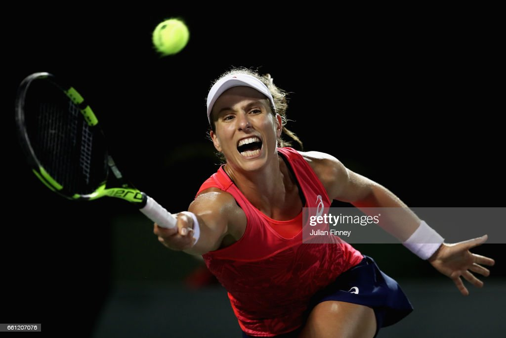 Johanna Konta of Great Britain stretches for a forehand in her match against Venus Williams of USA in the semi finals at Crandon Park Tennis Center on March 30, 2017 in Key Biscayne, Florida.