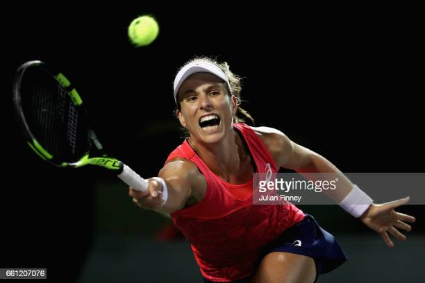 Johanna Konta of Great Britain stretches for a forehand in her match against Venus Williams of USA in the semi finals at Crandon Park Tennis Center...