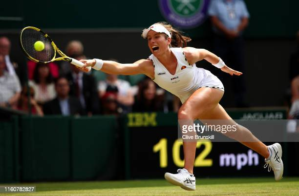 Johanna Konta of Great Britain stretches to play a forehand in her Ladies' Singles fourth round match against Petra Kvitova of The Czech Republic...