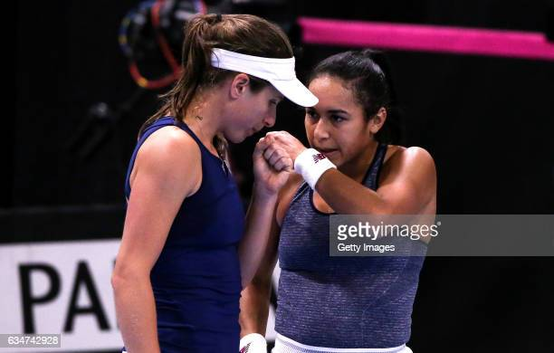 Johanna Konta of Great Britain talks to Heather Watson during the Fed Cup Europe/Africa Group 1 Promotional Playoff SemiFinal match against Croatia...