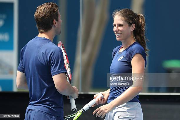 Johanna Konta of Great Britain talks with coach Wim Fissette during practice on day nine of the 2017 Australian Open at Melbourne Park on January 24...