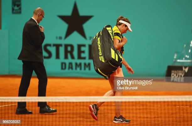 Johanna Konta of Great Britain walks off court after her straight sets defeat by Bernarda Pera of the United States during day four of the Mutua...