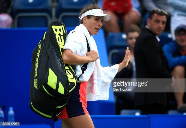 Johanna Konta of Great Britain waves to the crowds as she walks off court following the second round match against Coco Vandeweghe of The USA on day...