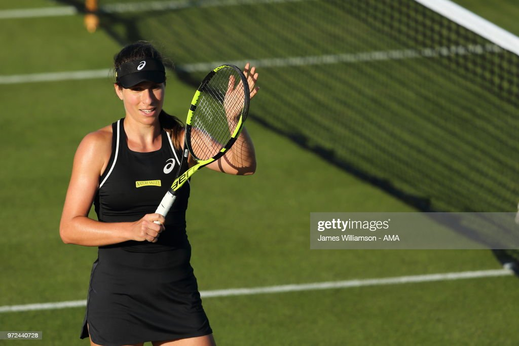 Johanna Konta of Great Britian celebrates after overcoming her first round opponent Kurumi Nara of Japan during Day 4 of the Nature Valley open at Nottingham Tennis Centre on June 12, 2018 in Nottingham, England.
