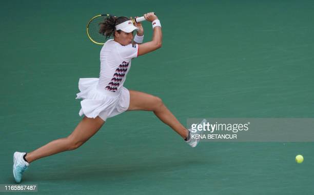 Johanna Konta of Great Britian plays against Elina Svitolina of Ukraine during their Women's Singles Quarterfinals match at the 2019 US Open at the...