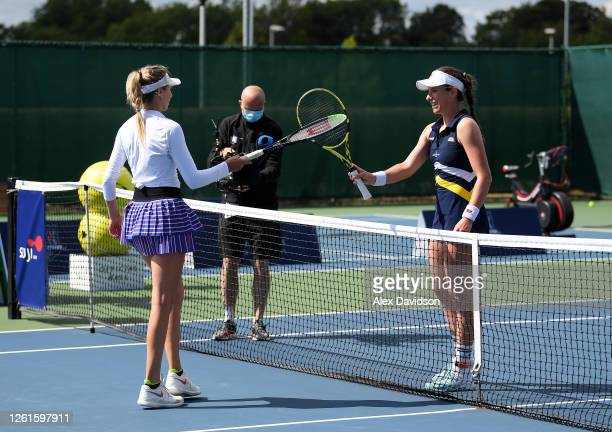 Johanna Konta of the British Bulldogs touches rackets with Katie Boulter of the Union Jacks after their singles matchduring day two of the St James's...
